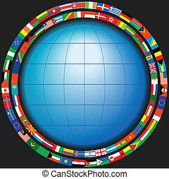 globe in a frame of flags