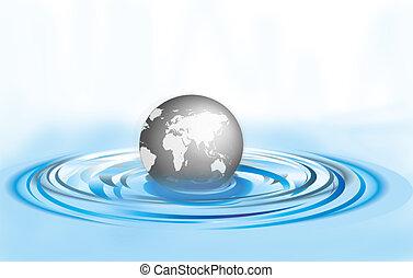 Globe in a water ripple