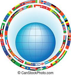 globe, in, een, frame, van, vlaggen