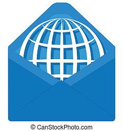 globe in envelope