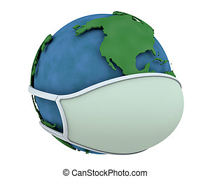 globe in a surgical mask depicting global pandemic