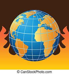 Globe in fire