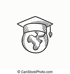Globe in graduation cap sketch icon.