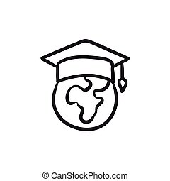 Globe in graduation cap sketch icon.