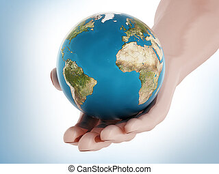 Globe in hand. 3D illustration