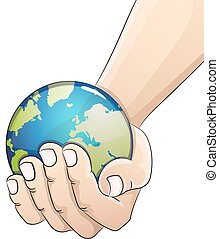 Globe in hand. Earth Day concept