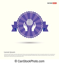 Globe In hand Icon - Purple Ribbon banner