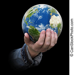 Globe in hand. Image with clipping path