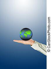 globe, in, hand