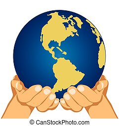 Globe in hands isolated over white background - illustration...