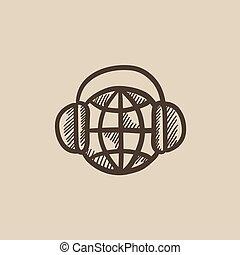 Globe in headphones sketch icon.