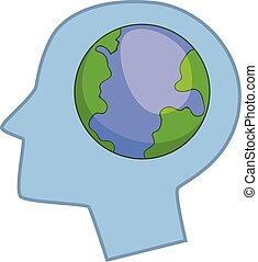 Globe in human head icon, cartoon style