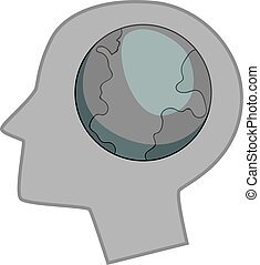 Globe in human head icon monochrome