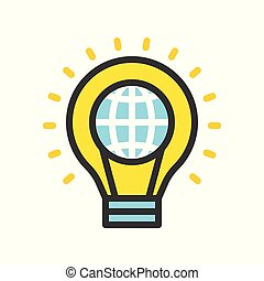 Globe in light bulb, saving energy filled outline flat design icon
