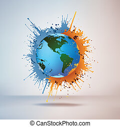 Globe in Paint on Vignette Background. Vector.