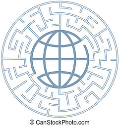 A globe in a radial maze as a Puzzling World symbol.