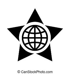 Globe in the center of the star icon, simple style
