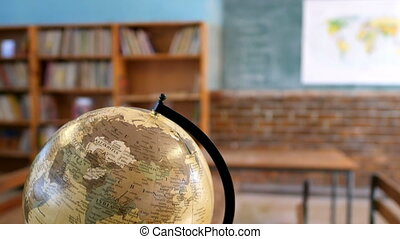 Globe in the classroom at school 4k - Globe in the empty ...