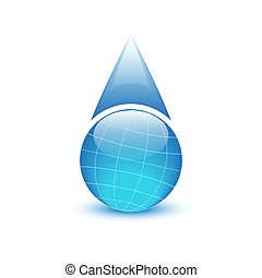 Globe in the form of drops water, environmental logo
