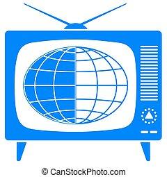 Globe in the retro TV icon