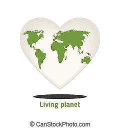 Globe in the shape of a love heart.