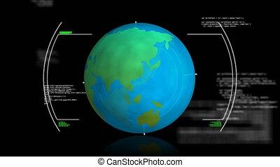 globe, informatique, rotation, balayage, animation, portée