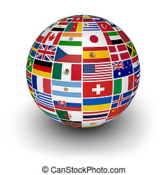 globe, international, mondiale, drapeaux