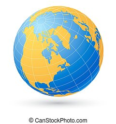 globe, isolé, white.