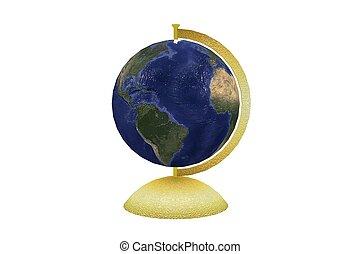 Globe isolated on white 3D render