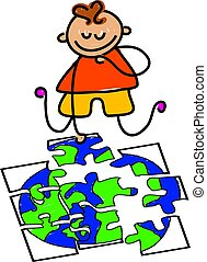 globe jigsaw - little boy doing a jigsaw puzzle of a globe -...
