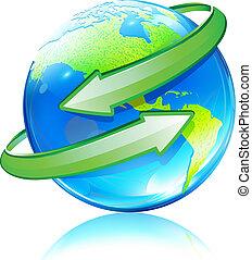 globe, kaart, aarde, glanzend