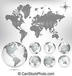 globe, kaart, vector, dotted