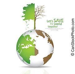 globe., kalhugg, klot, träd, illustration, vektor, grön,...