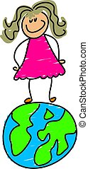 globe kid - little girl standing on world - toddler art...
