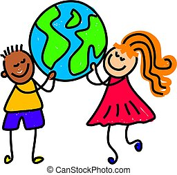 globe kids - children from different ethnic backgrounds...