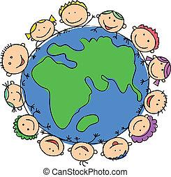 globe, kinderen, vasthouden, vrolijke