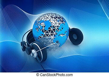globe, la terre, écouteurs