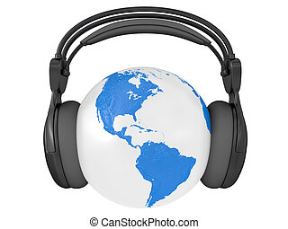globe, la terre, audio, écouteurs