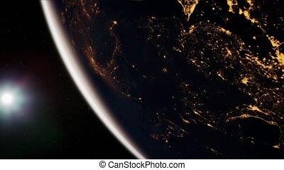 globe, la terre, orbite, espace, planète