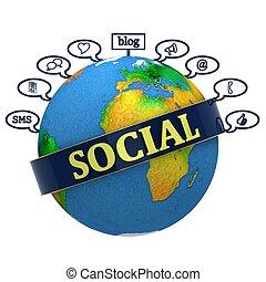 Globe labeled social