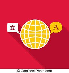 Globe launguage icon, flat style