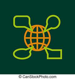Globe launguage icon, outline style