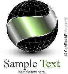 globe, logo, sphère, 3d