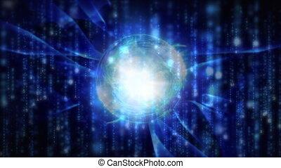 globe, lumière, fond, particules, entouré, formes, sombre, onduler, bleu, tomber