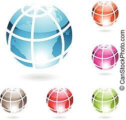 globe, lustré, coloré, icônes