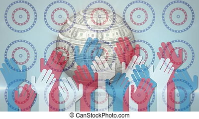Globe made of american dollars and multiple hands icon ...