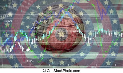 Globe made of American dollars and stars on spinning circles against waving US flag