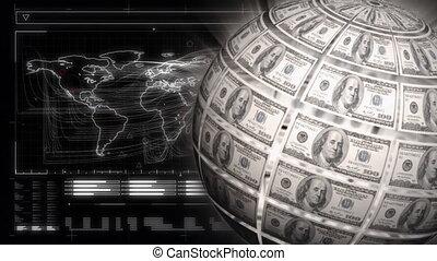 Globe made of dollar bills and world map