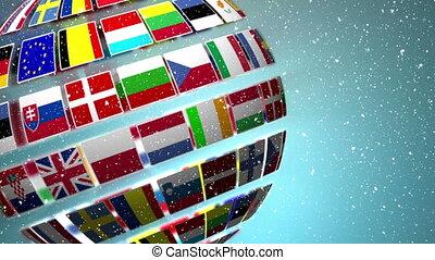 Globe made of flags of EU countries