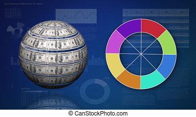Globe made of money beside a colour wheel